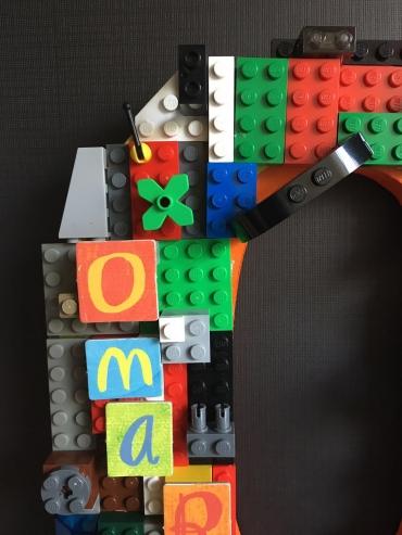 A Lego Dream standing alphabet details