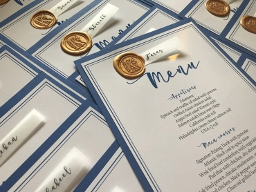Blue and Gold Menu Cards