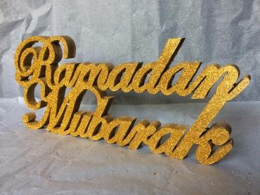 Gold Glitter Ramdan Mubarak Wooden stand