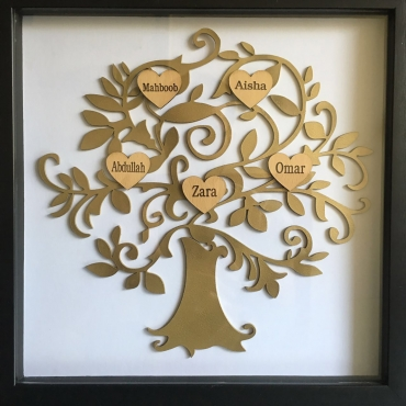Laser Cut Family Tree black frame