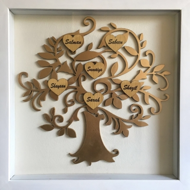 Laser Cut Family Tree white frame