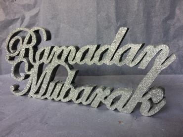 Silver Glitter Ramdan Mubarak Wooden stand