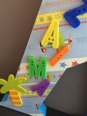 Summer Plane standing alphabet detail